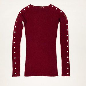 Burgundy Ribbed Knit Top